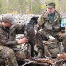 Kourin Jussi ja Sunnarin Seppo arvioivat Jussin ampumaa metsoa 20.9.2009